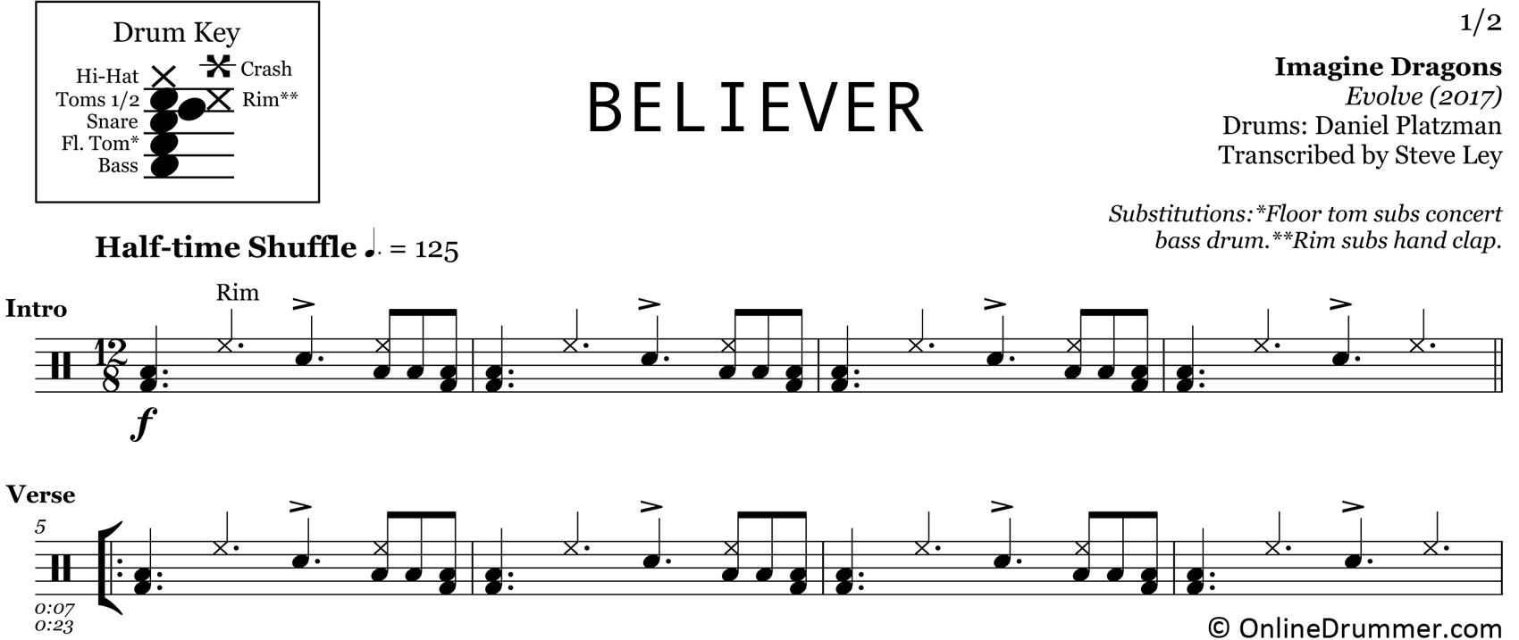 Believer - Imagine Dragons - Drum Sheet Music