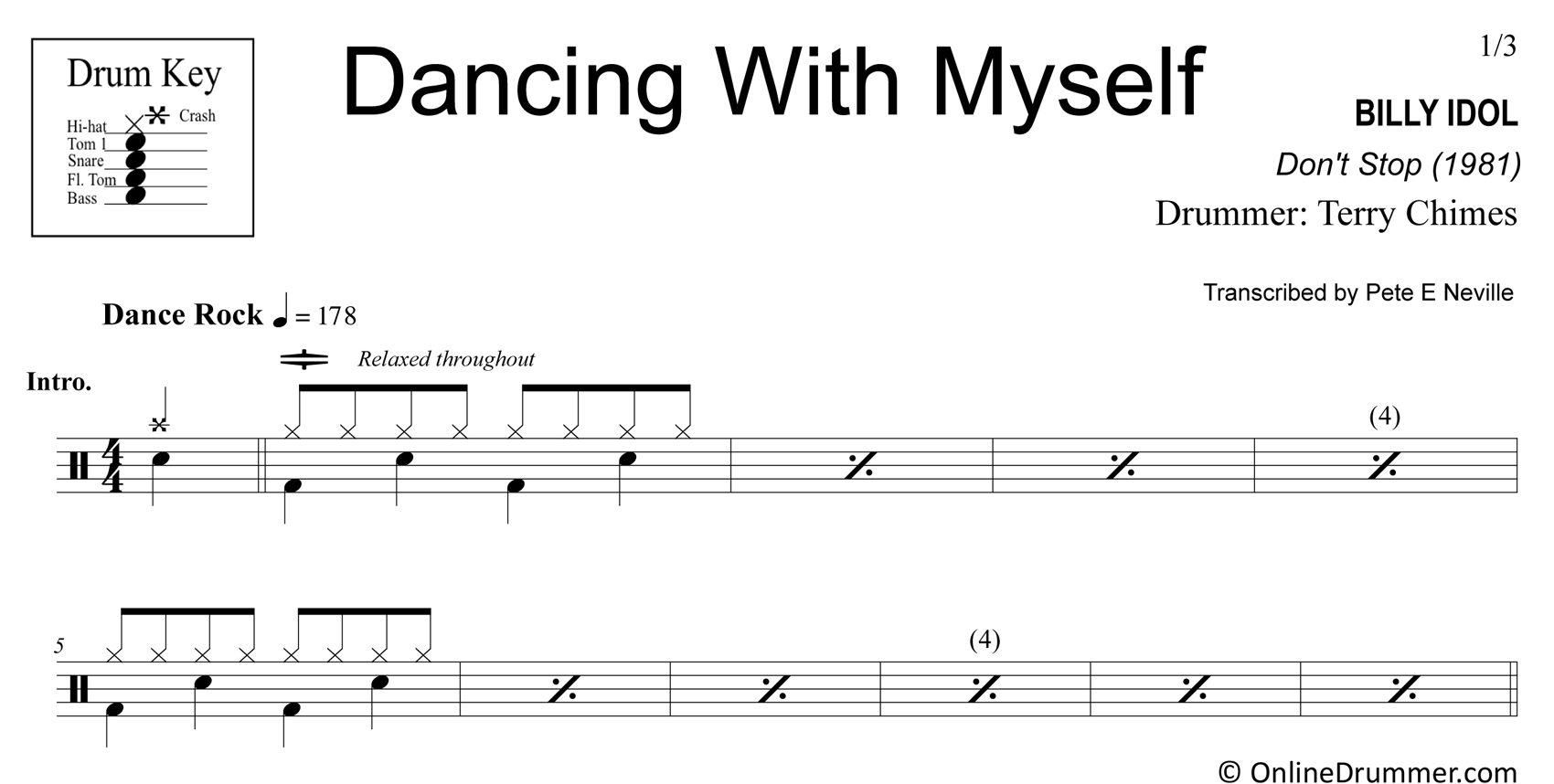 Dancing with Myself - Billy Idol - Drum Sheet Music