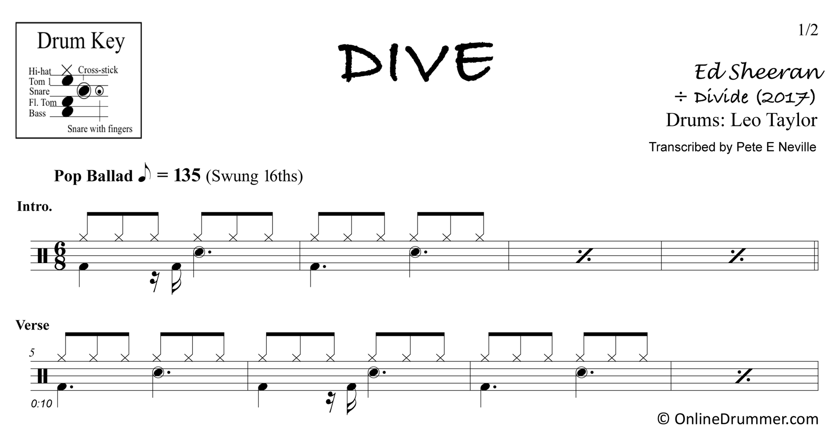 Dive - Ed Sheeran - Drum Sheet Music