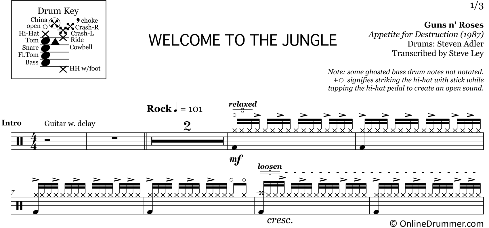 Welcome to the Jungle - Guns N Roses - Drum Sheet Music