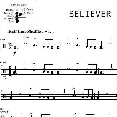 Thunder Imagine Dragons Drum Sheet Music Onlinedrummer