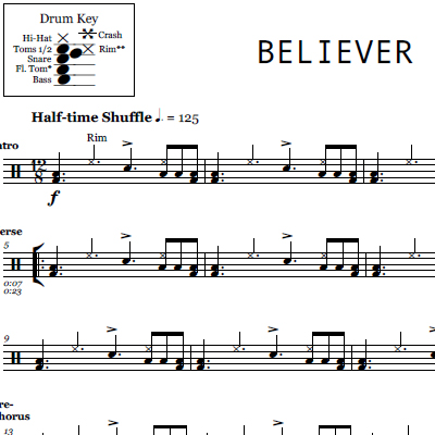 Whatever It Takes Imagine Dragons Drum Sheet Music