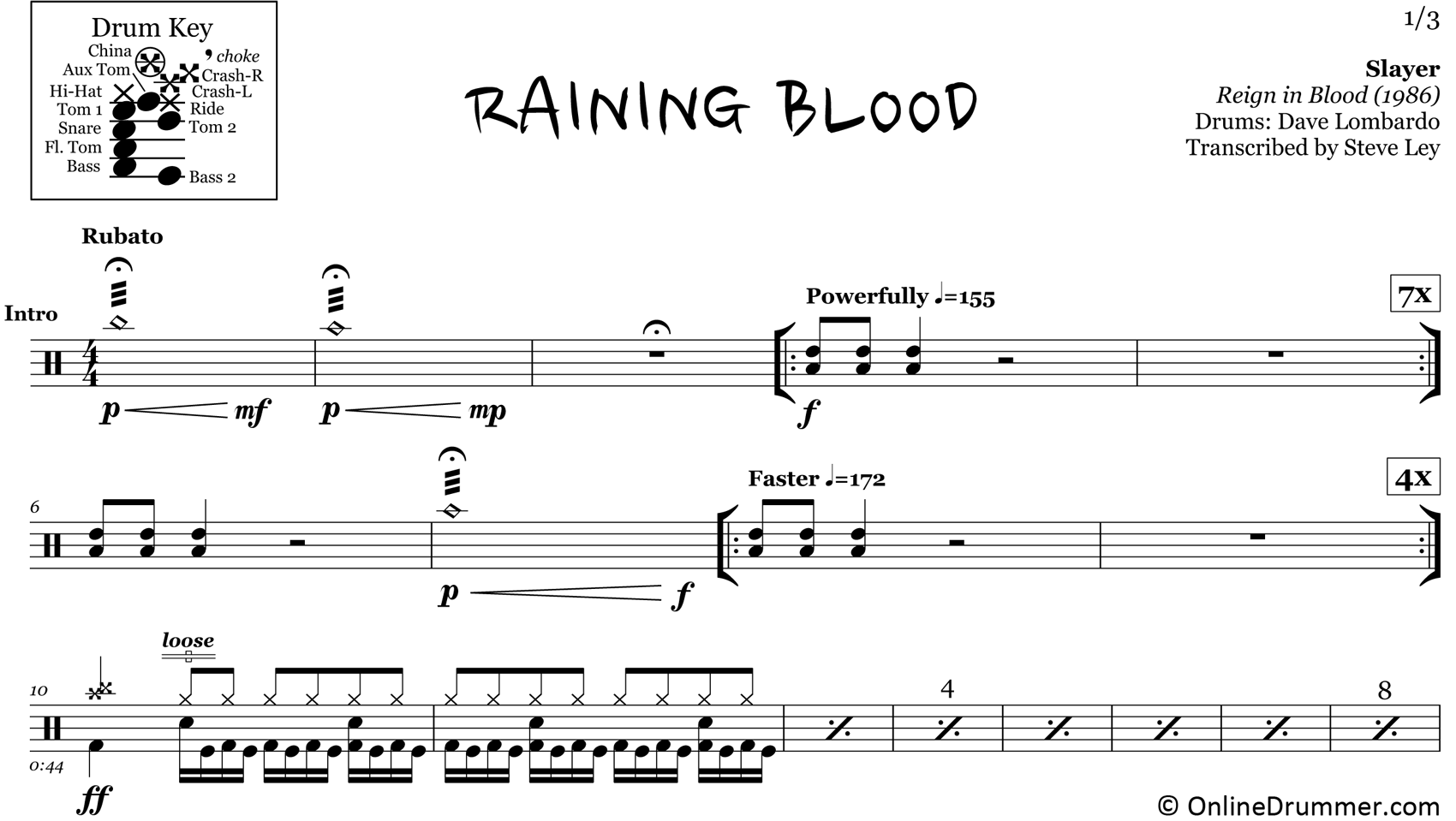 Raining Blood - Slayer - Drum Sheet Music