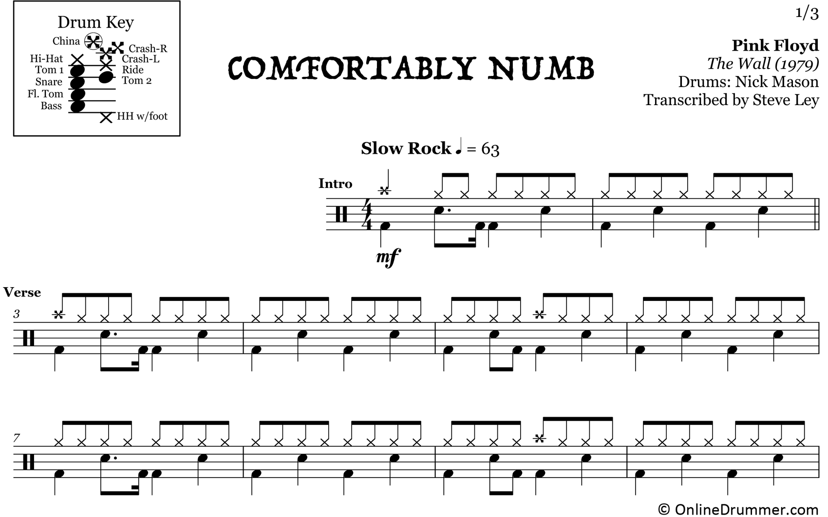 Comfortably Numb - Pink Floyd - Drum Sheet Music