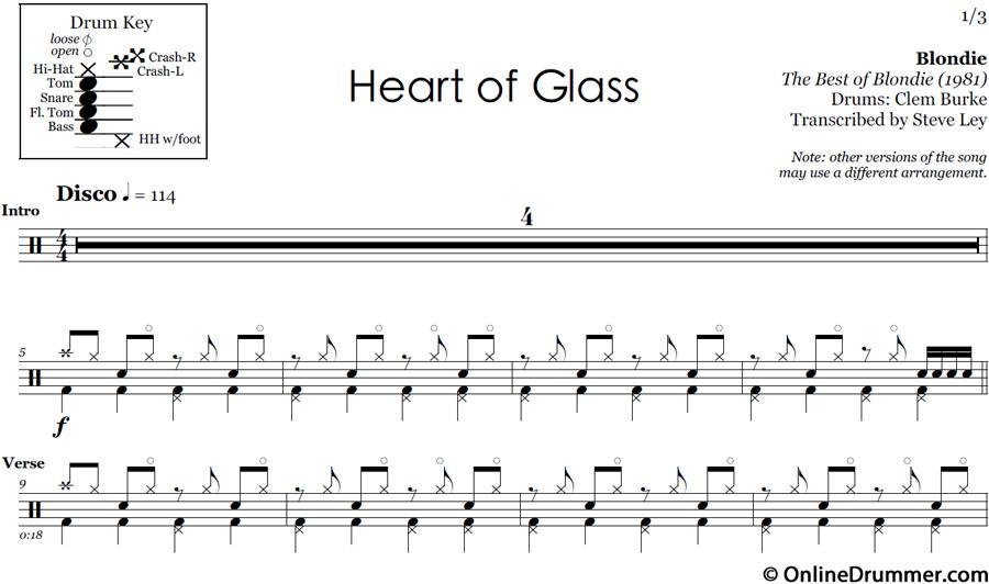 Heart of Glass - Drum Sheet Music