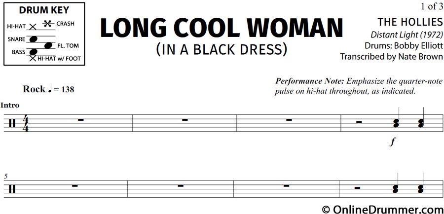 Long cool woman in a black dress guitar tabs