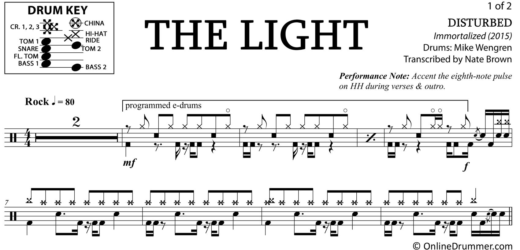 The Light - Disturbed - Drum Sheet Music
