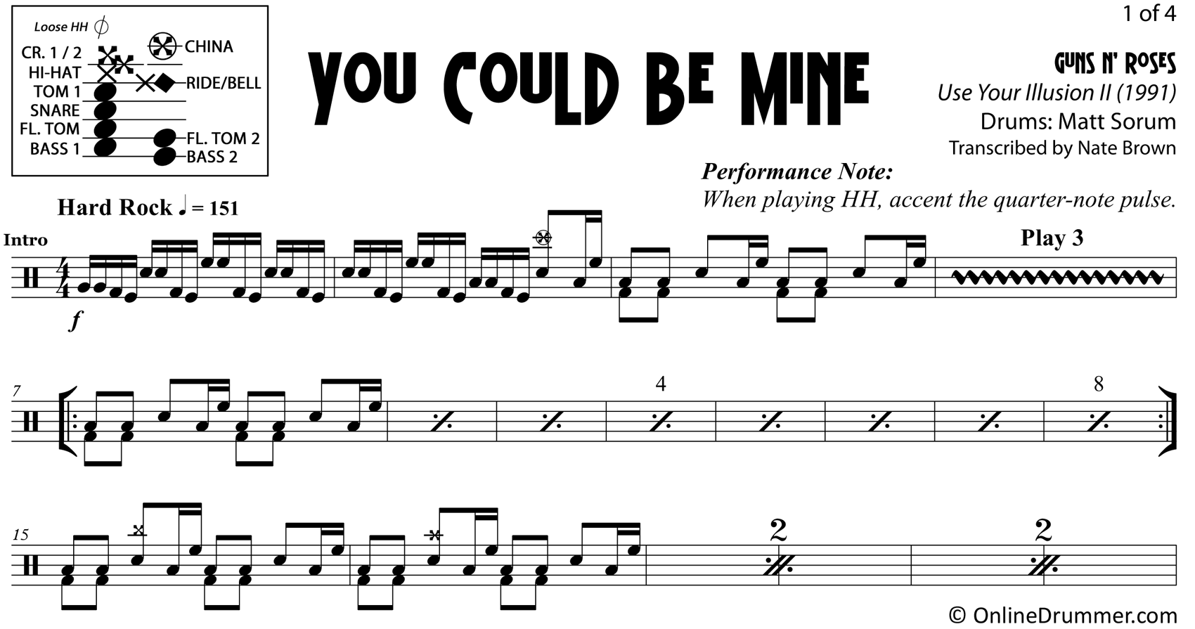You Could Be Mine - Guns N Roses - Drum Sheet Music