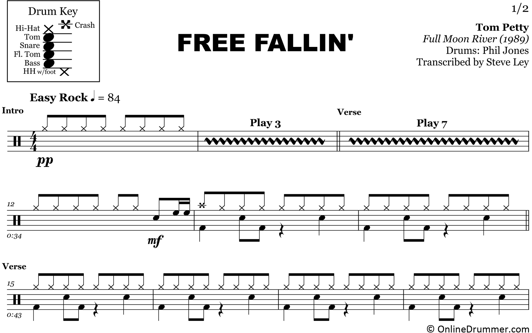 Free Fallin' - Tom Petty - Drum Sheet Music