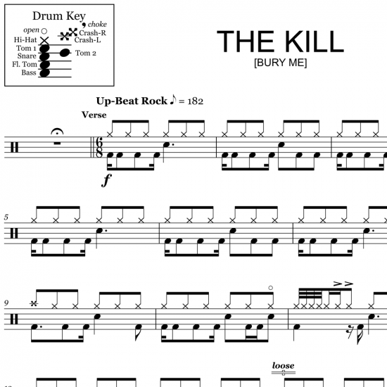 The Kill (Bury Me) - 30 Seconds to Mars - Drum Sheet Music