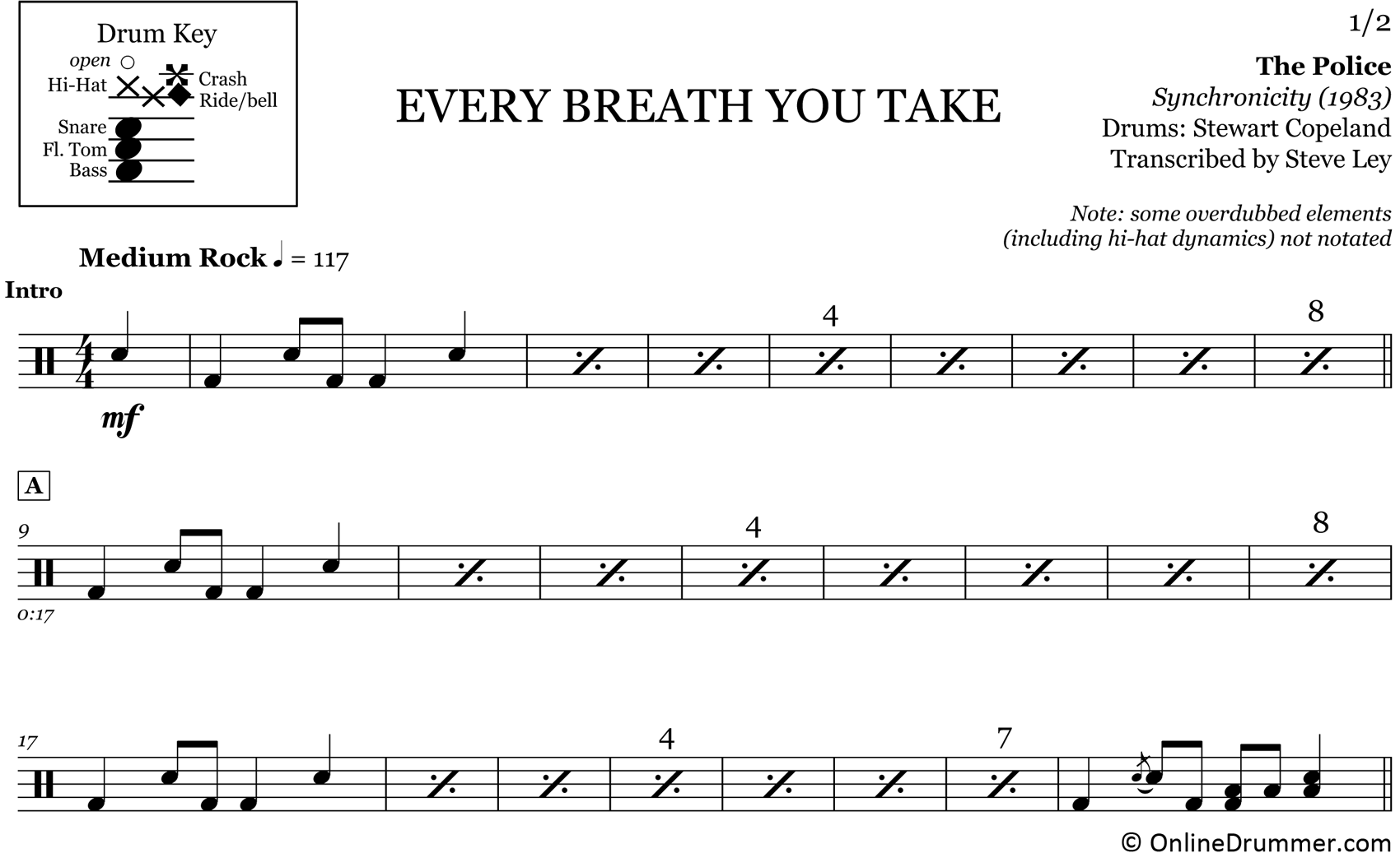 Every Breath You Take - The Police - Drum Sheet Music