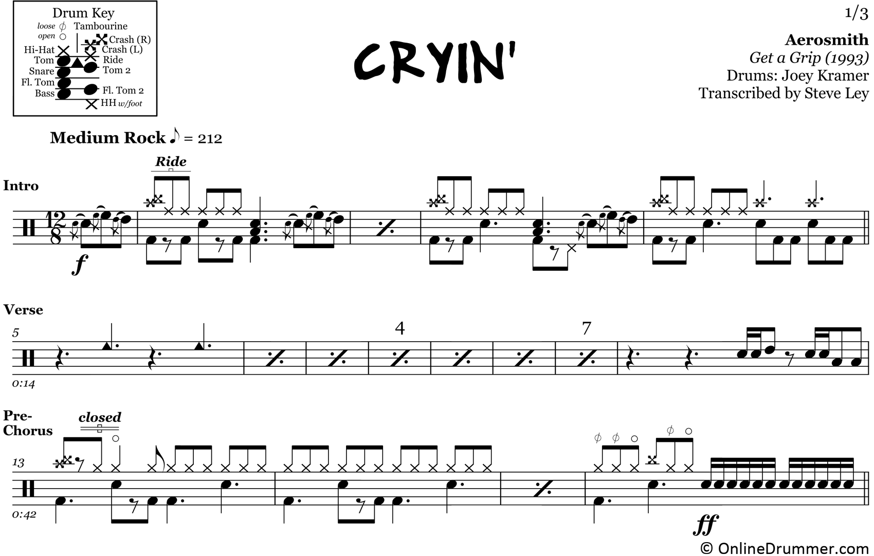 Cryin' - Aerosmith - Drum Sheet Music