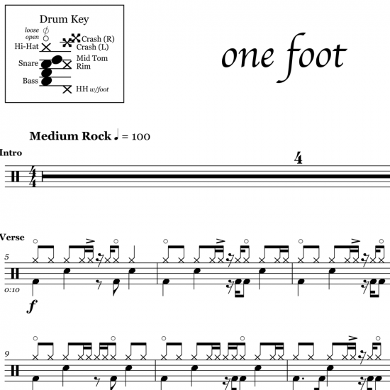 One Foot - Walk The Moon - Drum Sheet Music