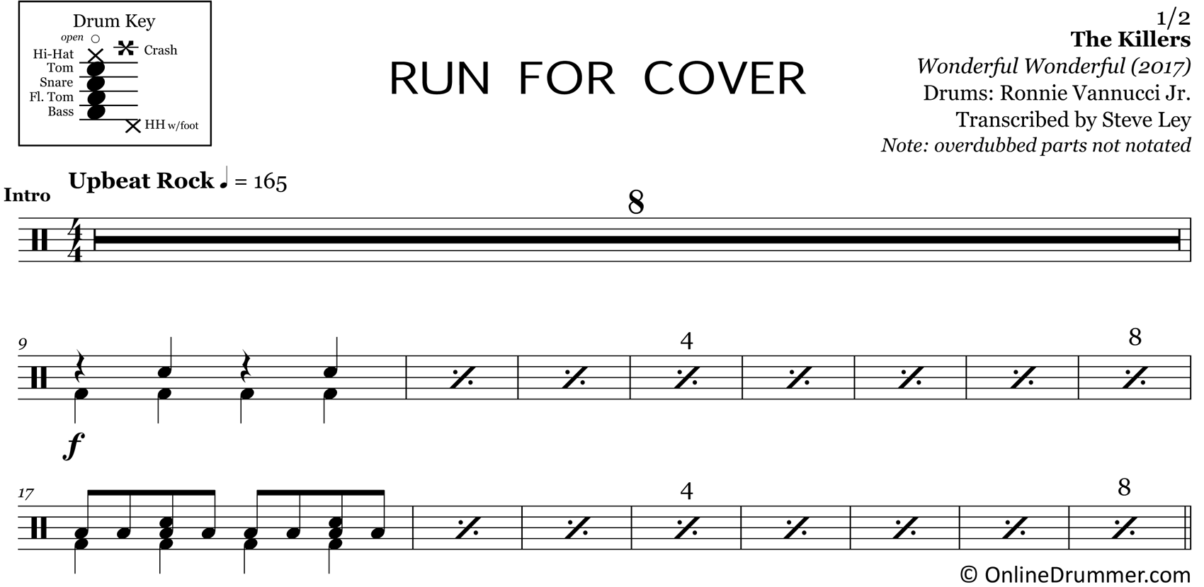 Run For Cover - The Killers - Drum Sheet Music