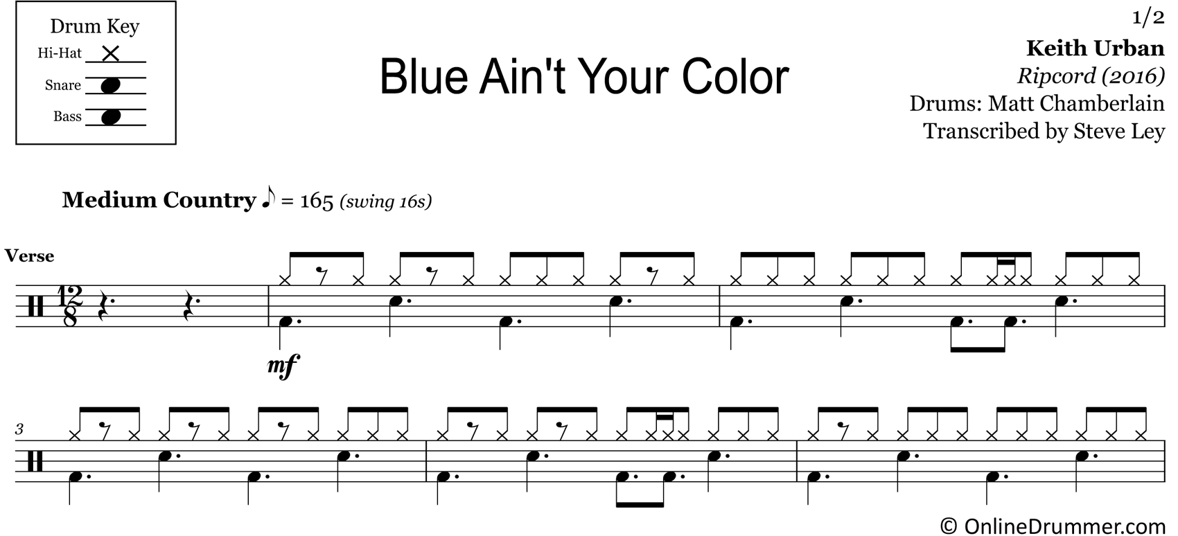 Blue Ain't Your Color - Keith Urban - Drum Sheet Music