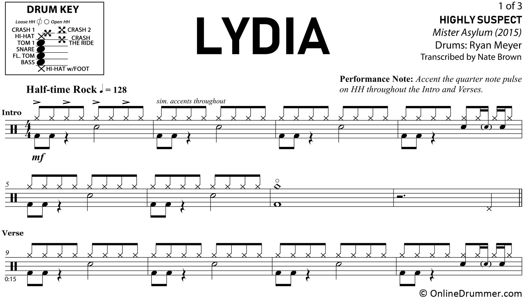 Lydia - Highly Suspect - Drum Sheet Music