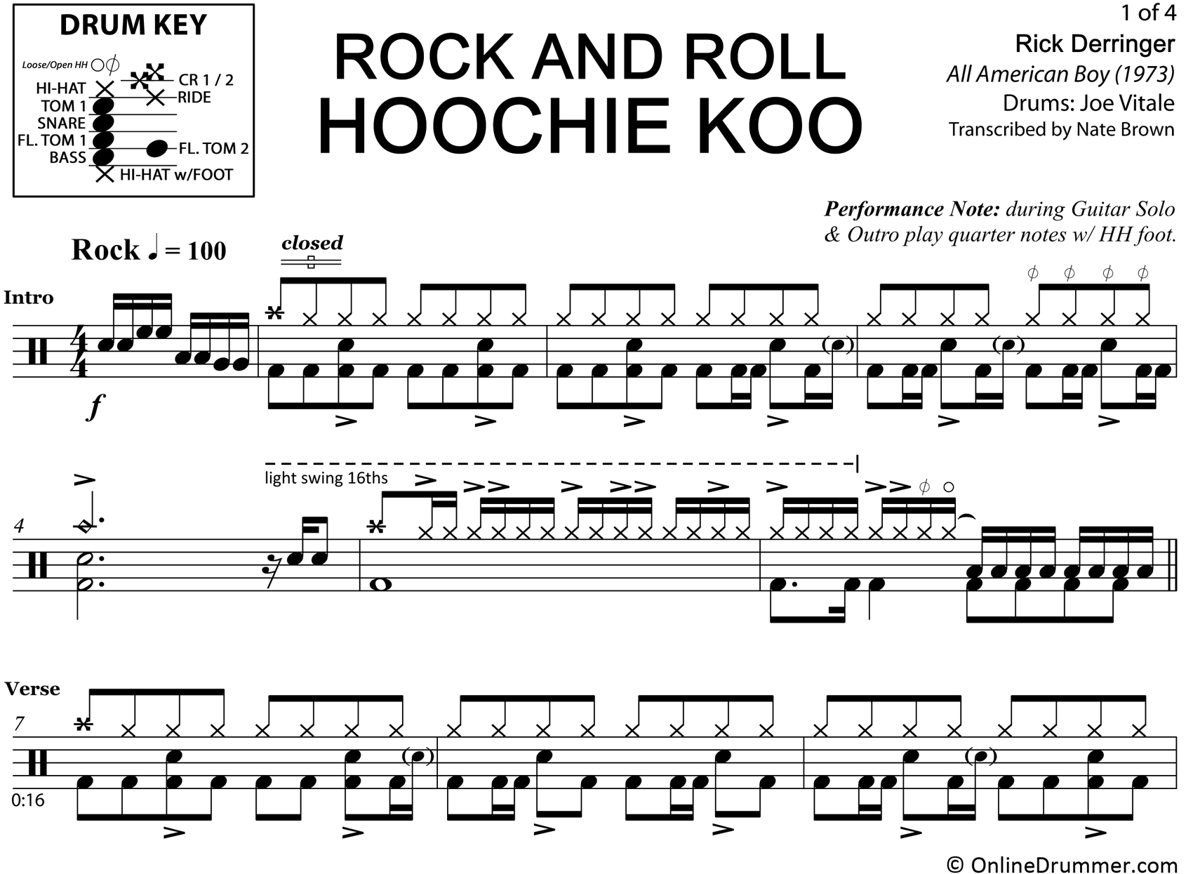 Rock and Roll Hoochie Koo - Rick Derringer - Drum Sheet Music