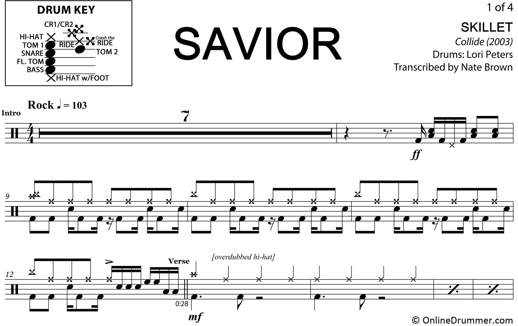 Savior - Skillet - Drum Sheet Music