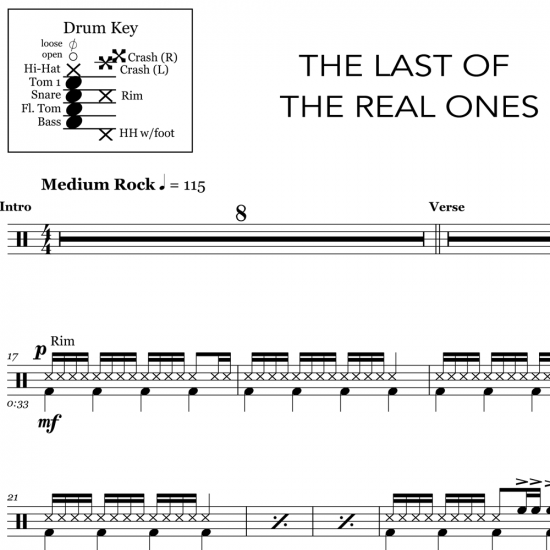 The Last of the Real Ones - Fall Out Boy - Drum Sheet Music