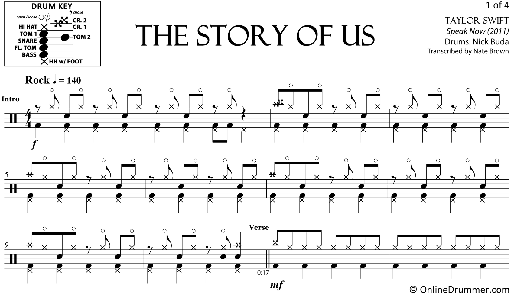 The Story Of Us - Taylor Swift - Drum Sheet Music