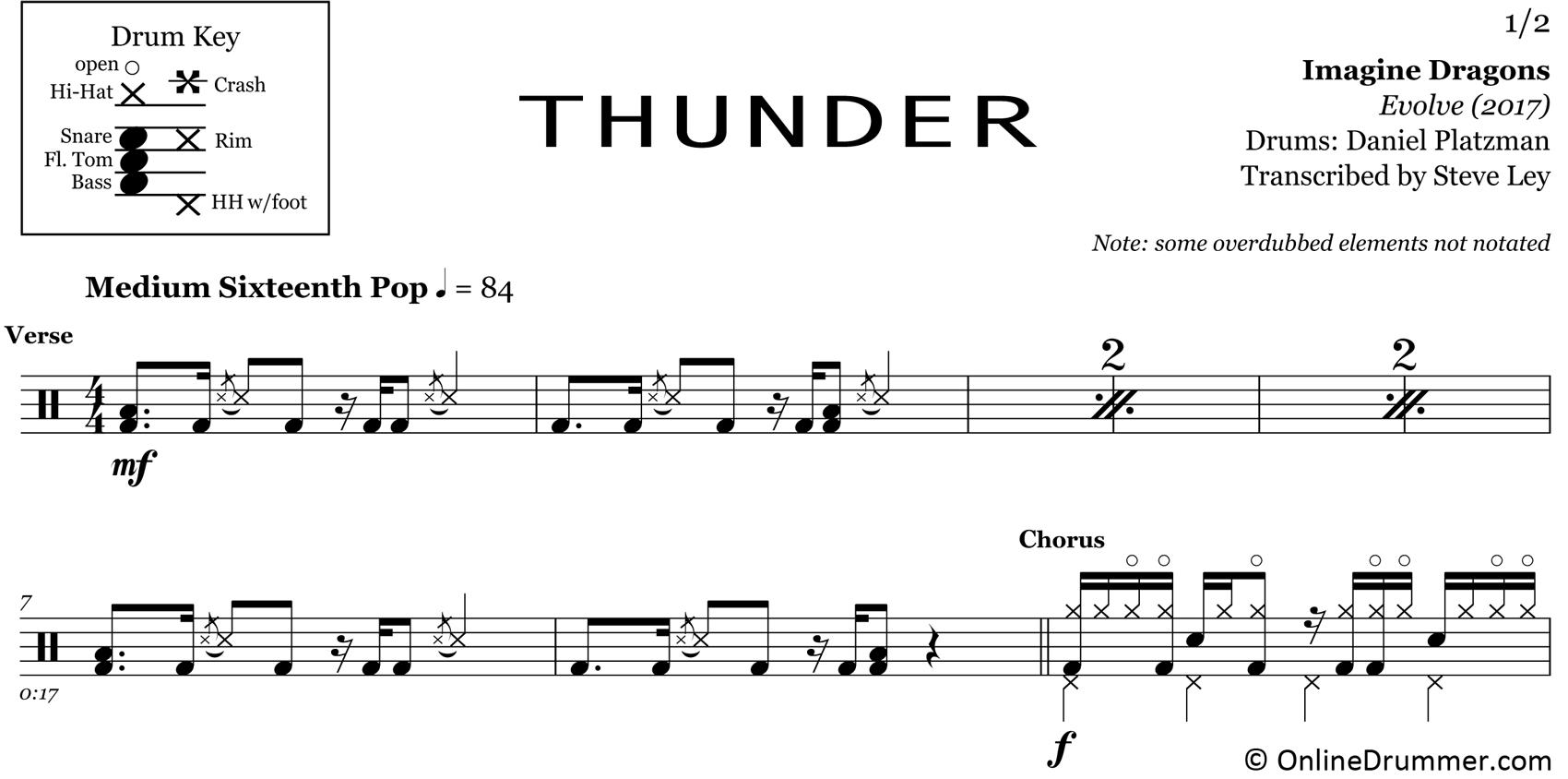 Thunder - Imagine Dragons - Drum Sheet Music