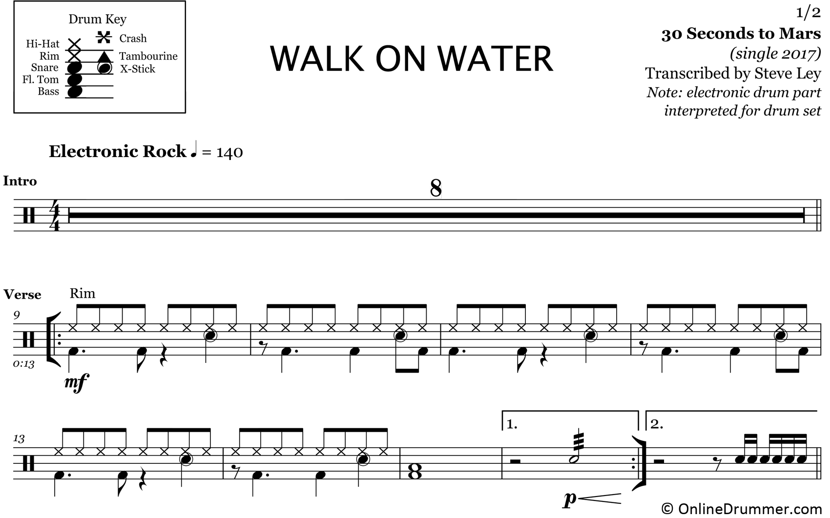 Walk On Water - 30 Seconds To Mars - Drum Sheet Music