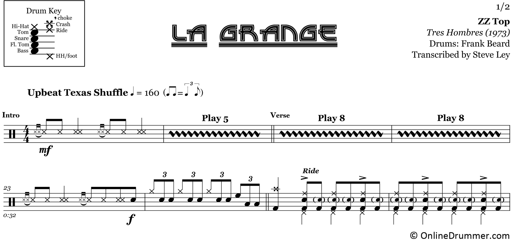 La Grange - ZZ Top - Drum Sheet Music
