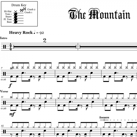 The Mountain - Three Days Grace - Drum Sheet Music