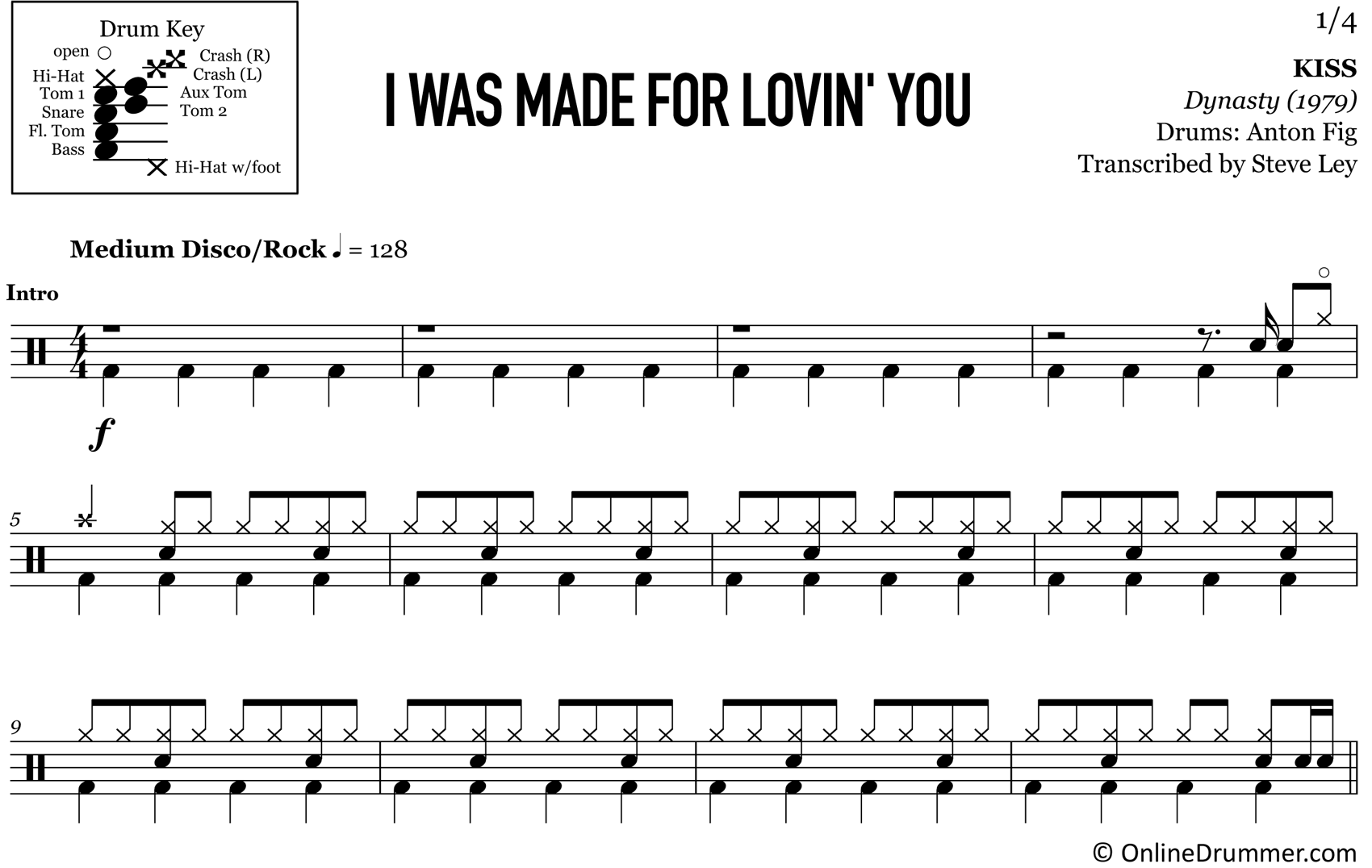 I Was Made For Lovin' You - KISS - Drum Sheet Music