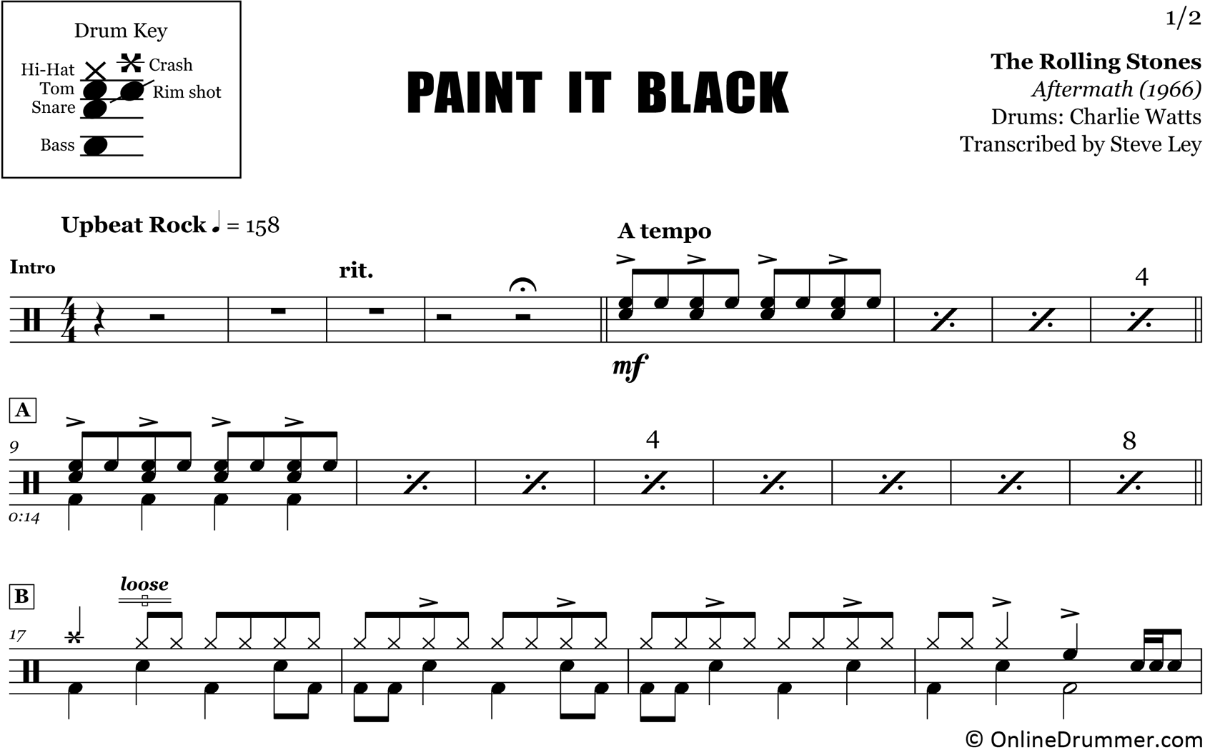 Paint It Black - The Rolling Stones - Drum Sheet Music