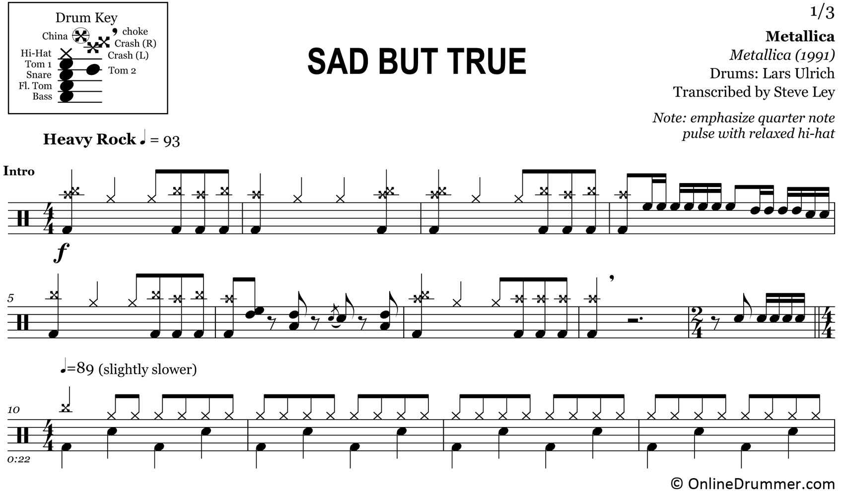 Sad But True - Metallica - Drum Sheet Music
