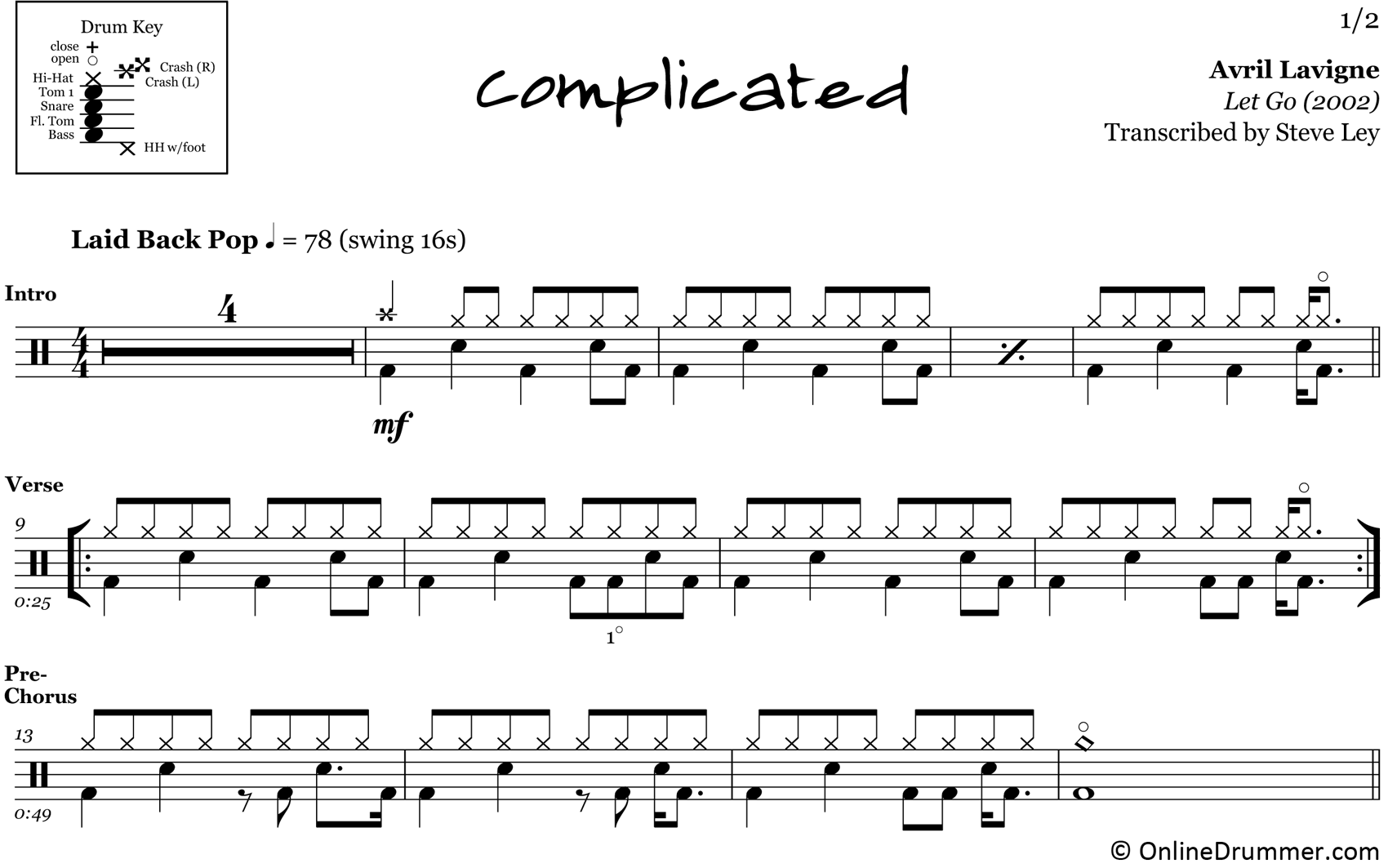 Complicated - Avril Lavigne - Drum Sheet Music