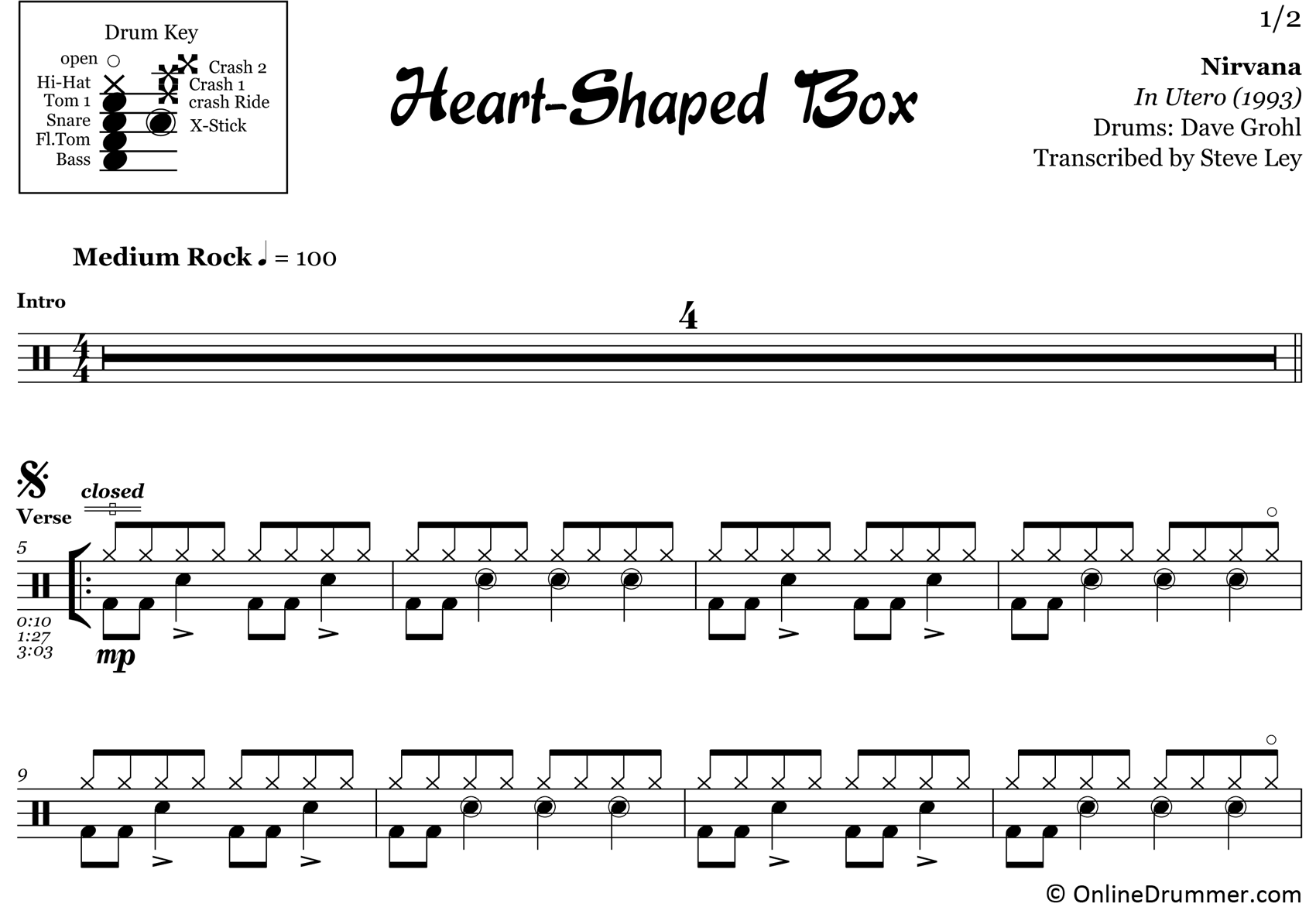Heart-Shaped Box - Nirvana - Drum Sheet Music