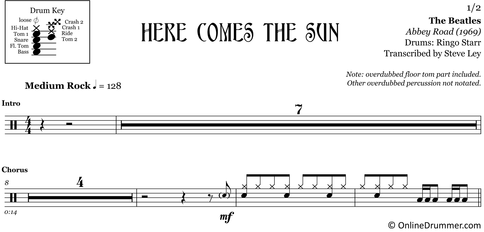 Here Comes The Sun - The Beatles - Drum Sheet Music