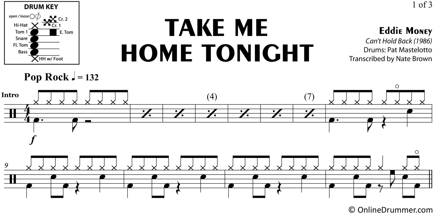 Take Me Home Tonight - Eddie Money - Drum Sheet Music