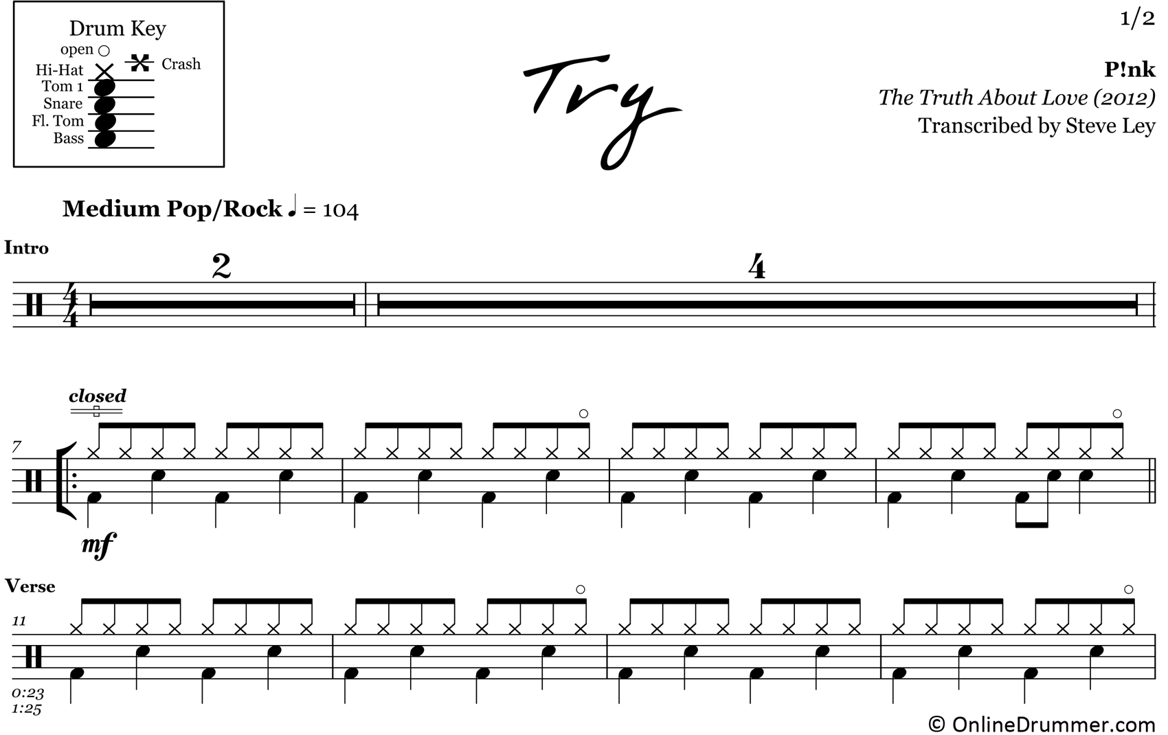Try - Pink - Drum Sheet Music
