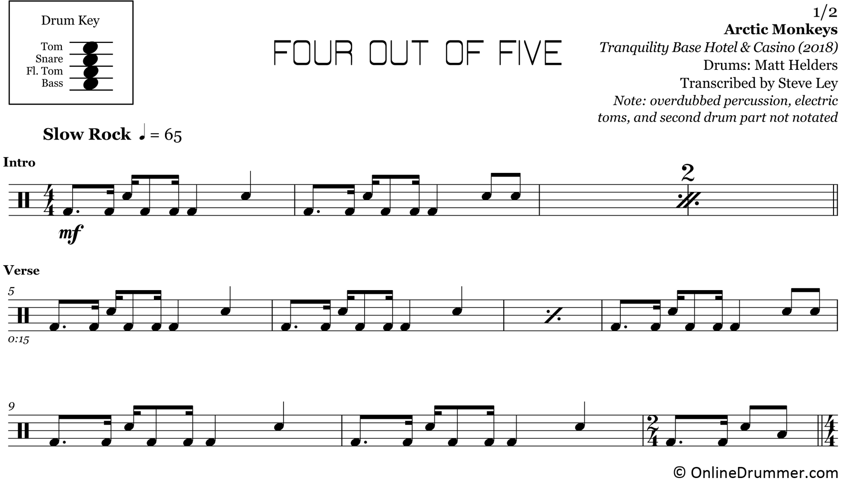 Four Out Of Five - Arctic Monkeys - Drum Sheet Music
