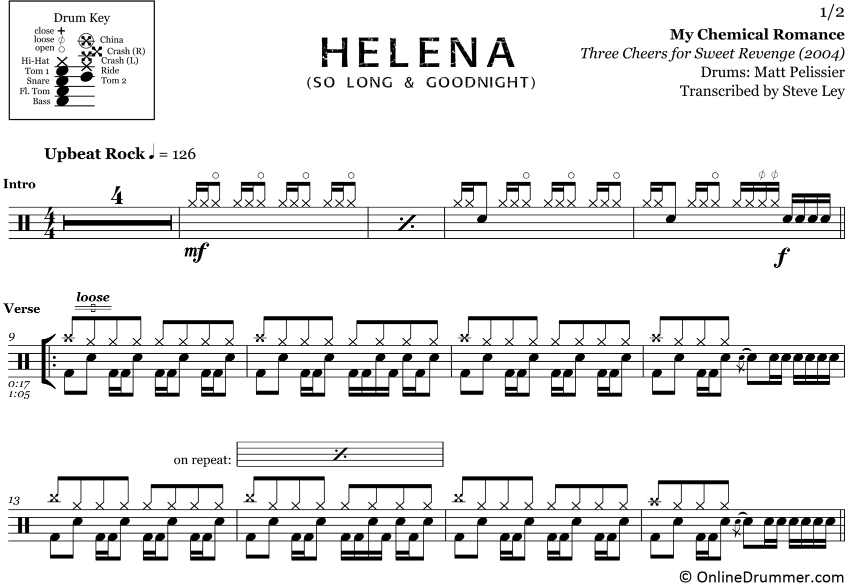 Helena - My Chemical Romance - Drum Sheet Music