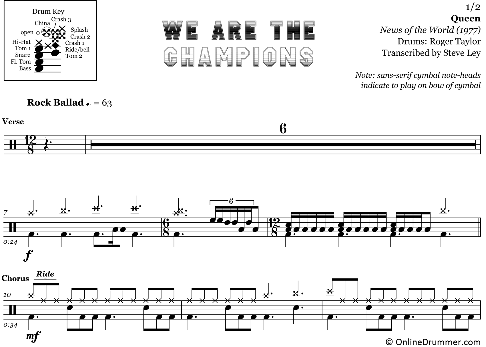 We Are The Champions - Queen - Drum Sheet Music