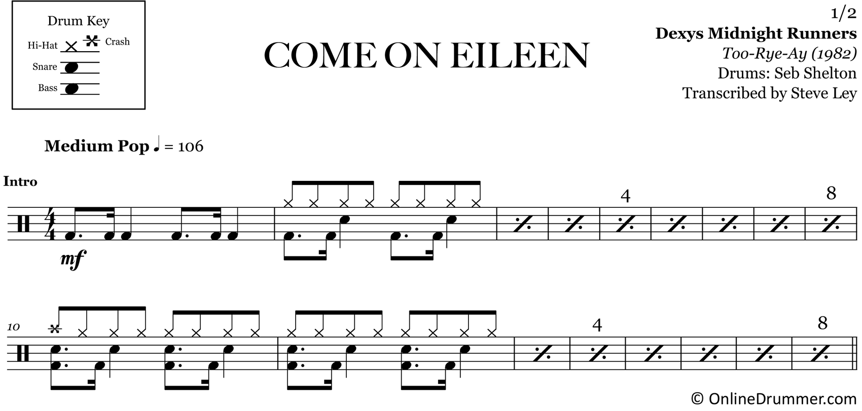 Come On Eileen - Dexys Midnight Runners - Drum Sheet Music