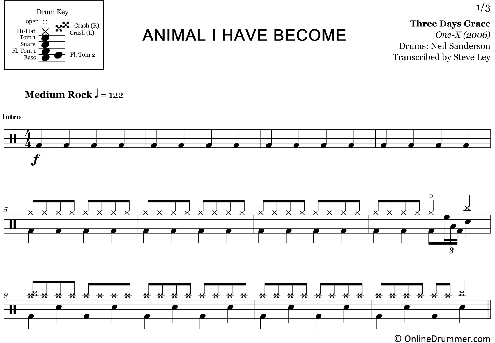 Animal I Have Become - Three Days Grace - Drum Sheet Music