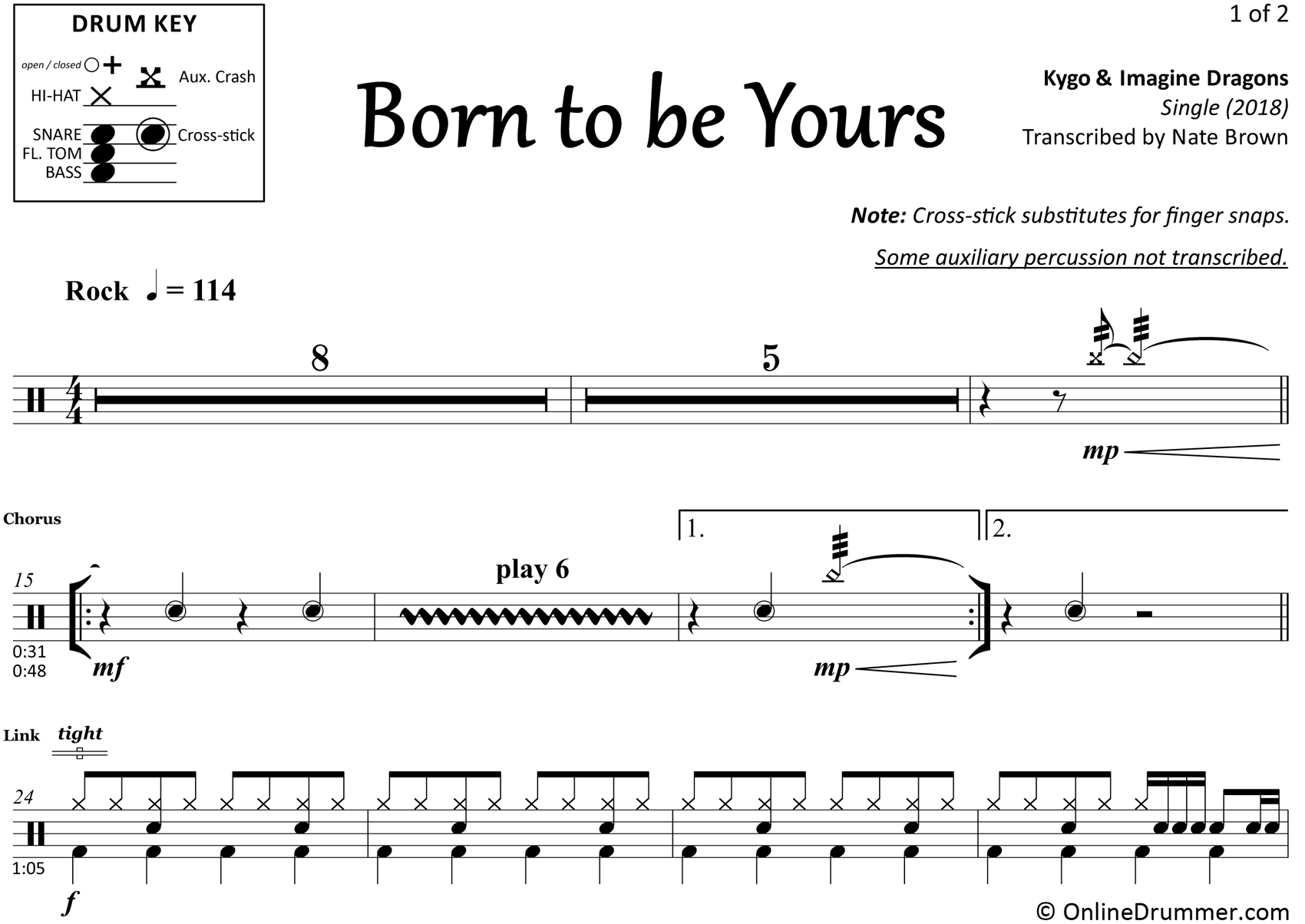 Born To Be Yours - Kygo & Imagine Dragons - Drum Sheet Music
