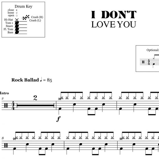 I Don't Love You - My Chemical Romance - Drum Sheet Music