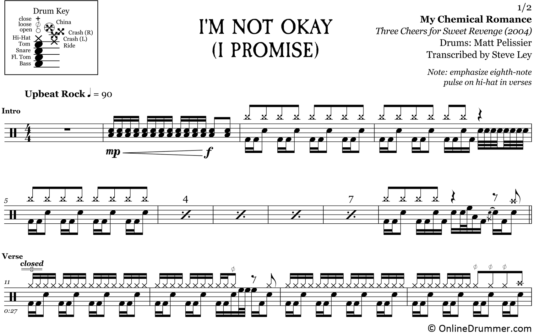 I'm Not Okay (I Promise) - My Chemical Romance - Drum Sheet Music