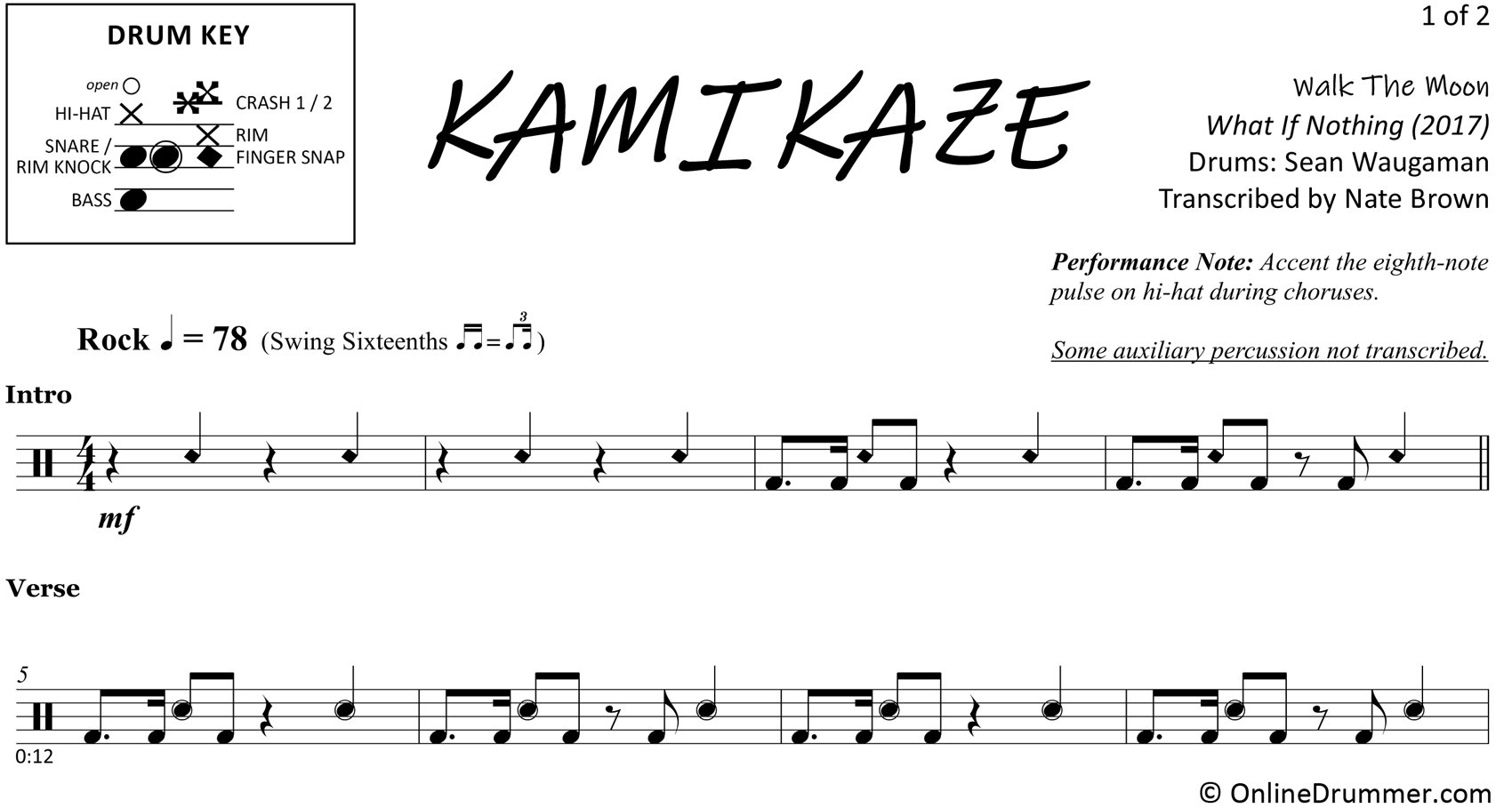 Kamikazi - Walk The Moon - Drum Sheet Music