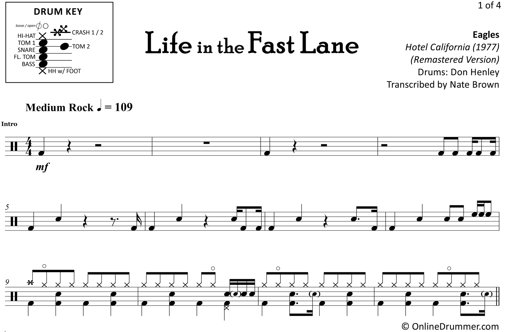 Life in the Fast Lane - Eagles - Drum Sheet Music