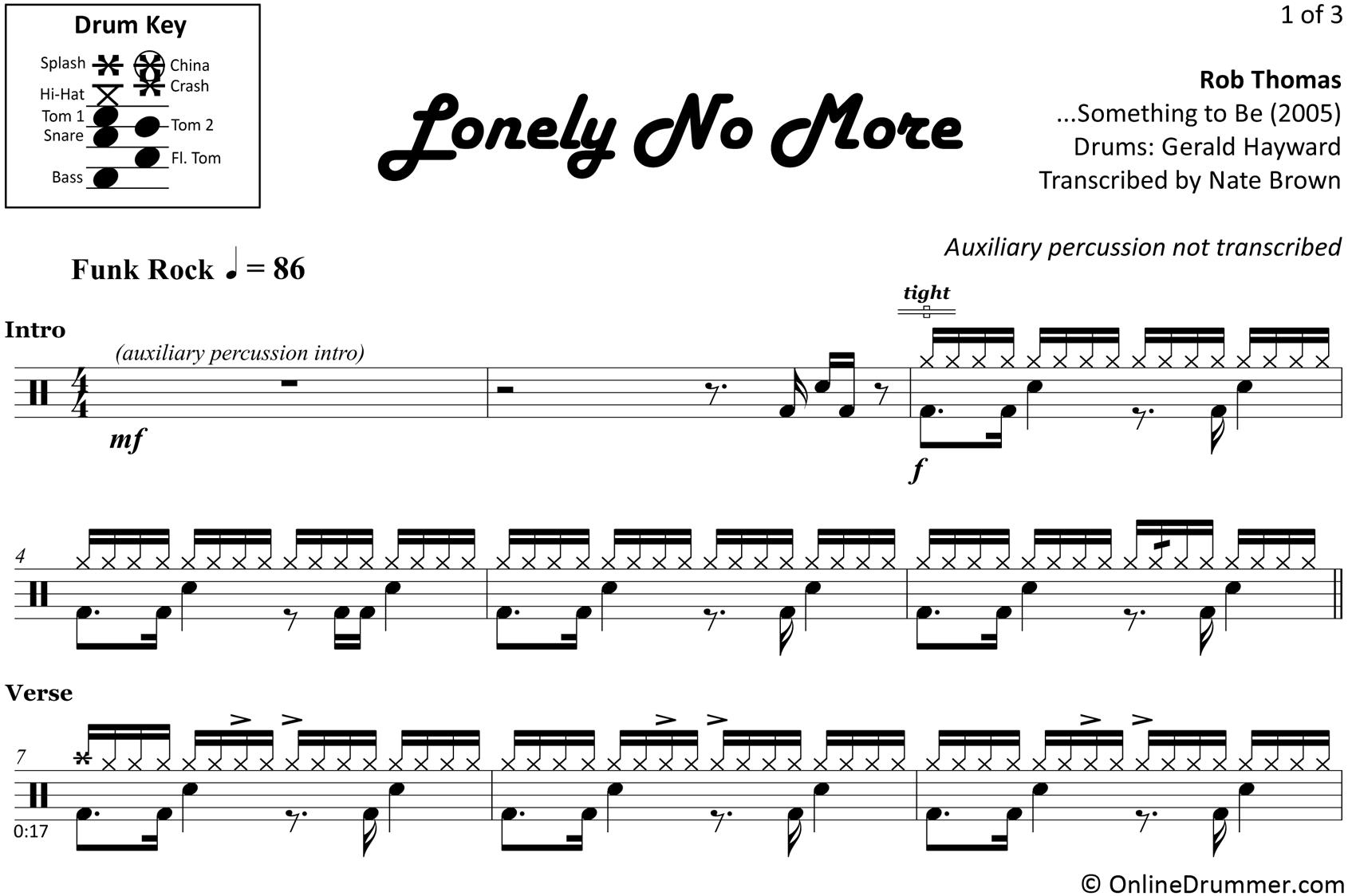 Lonely No More - Rob Thomas - Drum Sheet Music