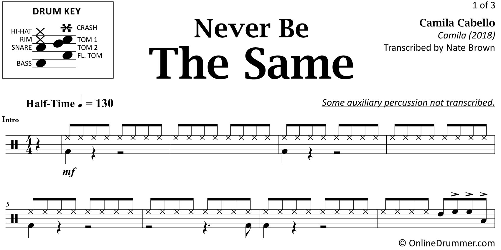 Never Be The Same - Camila Cabello - Drum Sheet Music