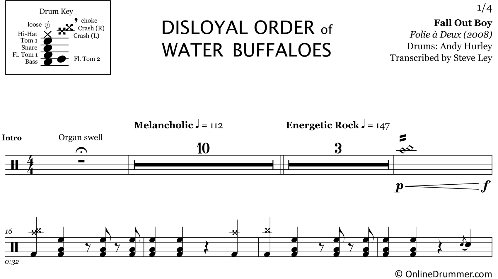 Disloyal Order of Water Buffaloes - Fall Out Boy - Drum Sheet Music