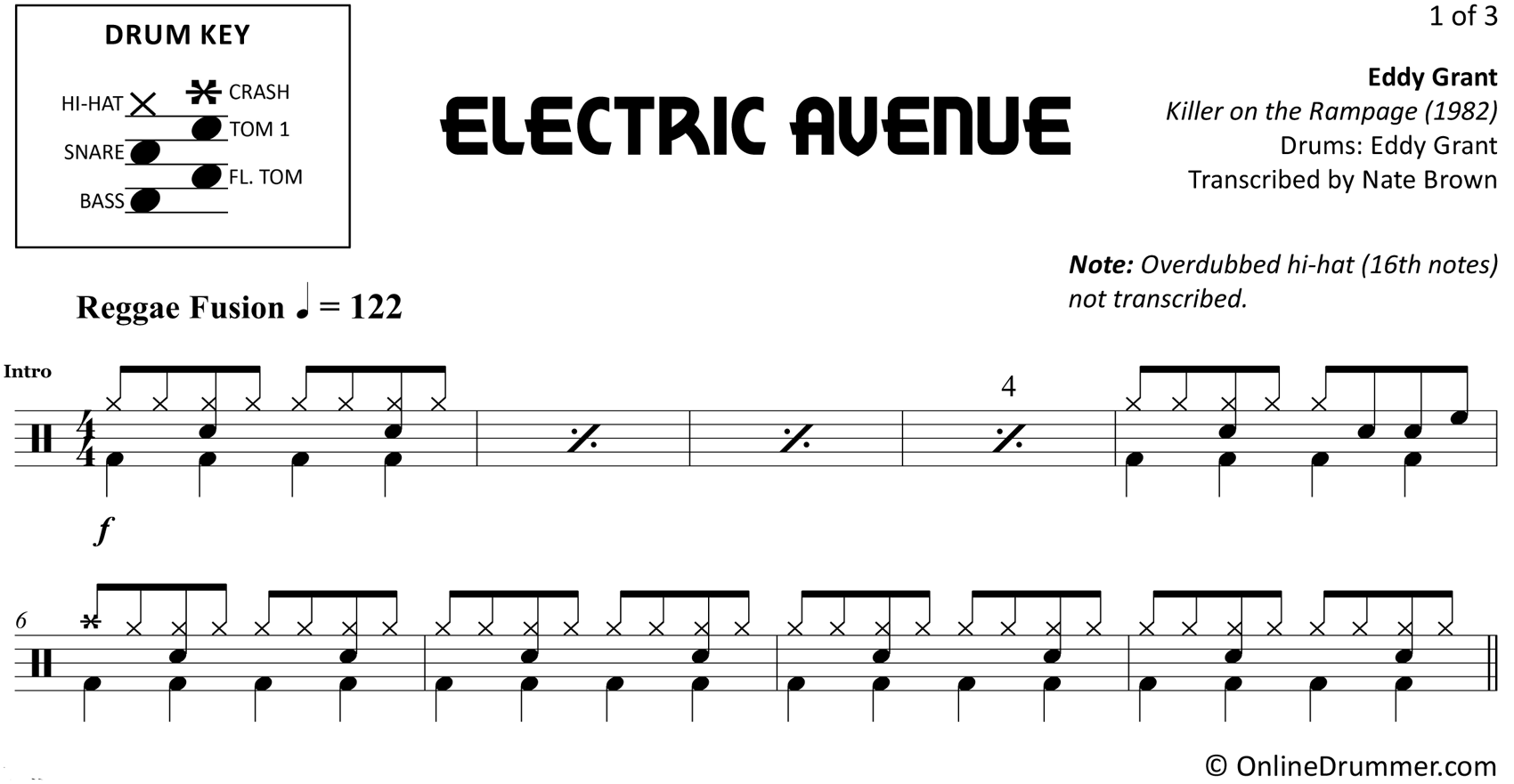 Electric Avenue - Eddy Grant - Drum Sheet Music